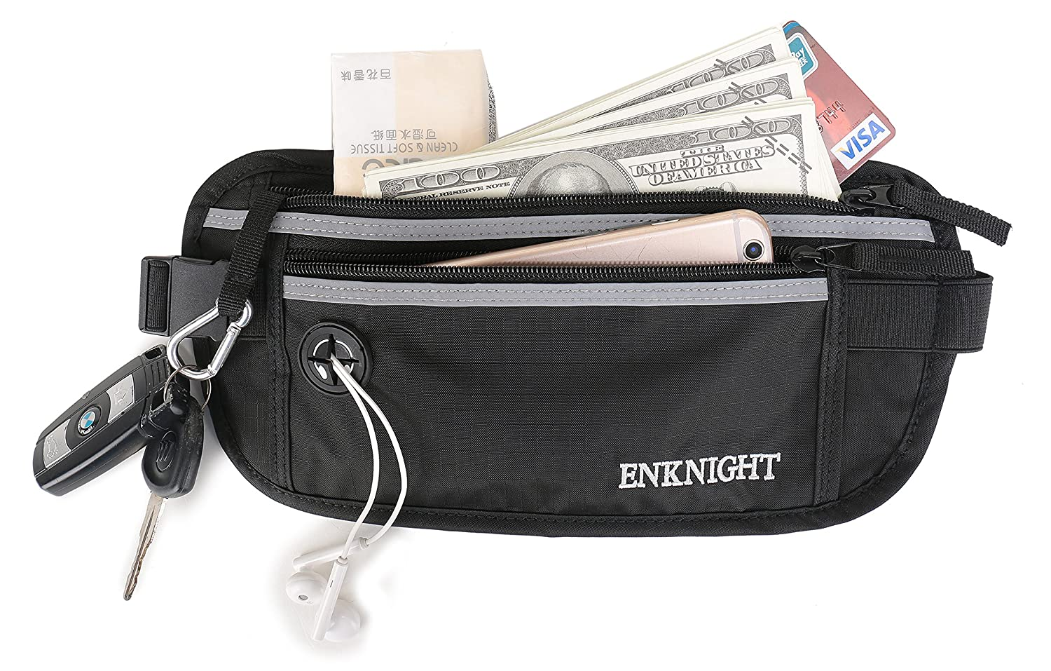 ENKNIGHT Big RFID Waist Pack for Travel Running Fanny Pack for Men & Women Money Belt Phone Pocket Hidden Fanny Belt For Keys Cashes ID Card Ticket Green