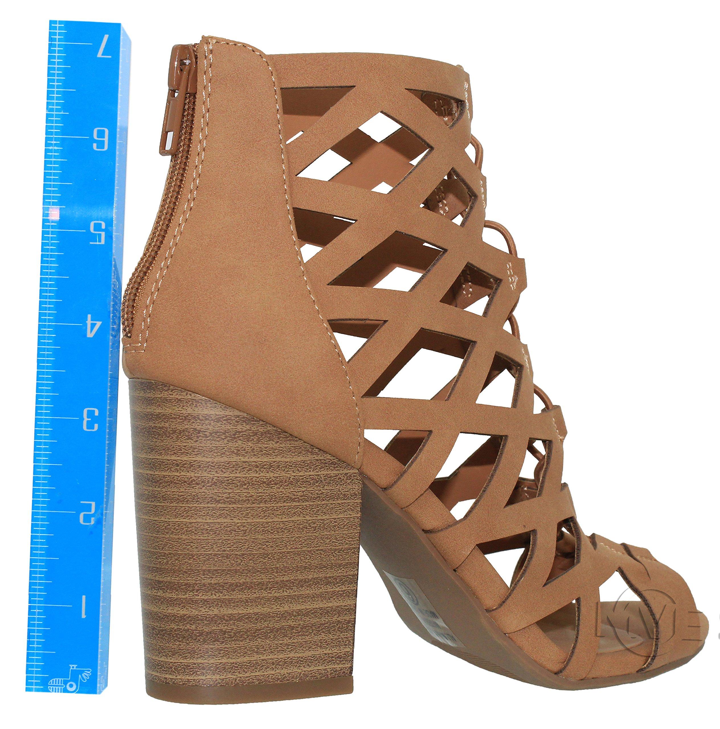 MVE Shoes Women's Open Toe Strappy Back Zipper Chunky Heel, tan nb Size 10 by MVE Shoes (Image #2)