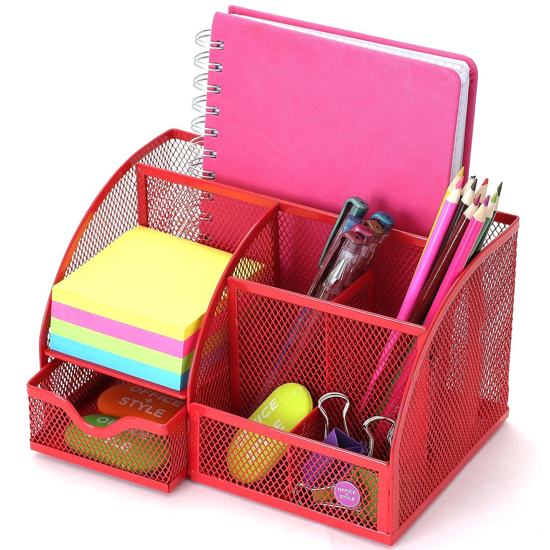5/compartments Mesh Schreibtisch Organizer violett