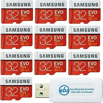 Samsung 32GB EVO Plus Tarjeta MicroSD (10 Pack EVO+ Bundle) Clase 10 SDHC Tarjeta de Memoria con Adaptador (MB-MC32G) con (1) Todo Menos Stromboli (TM) Micro & SD Lector de Tarjetas: Amazon.es: