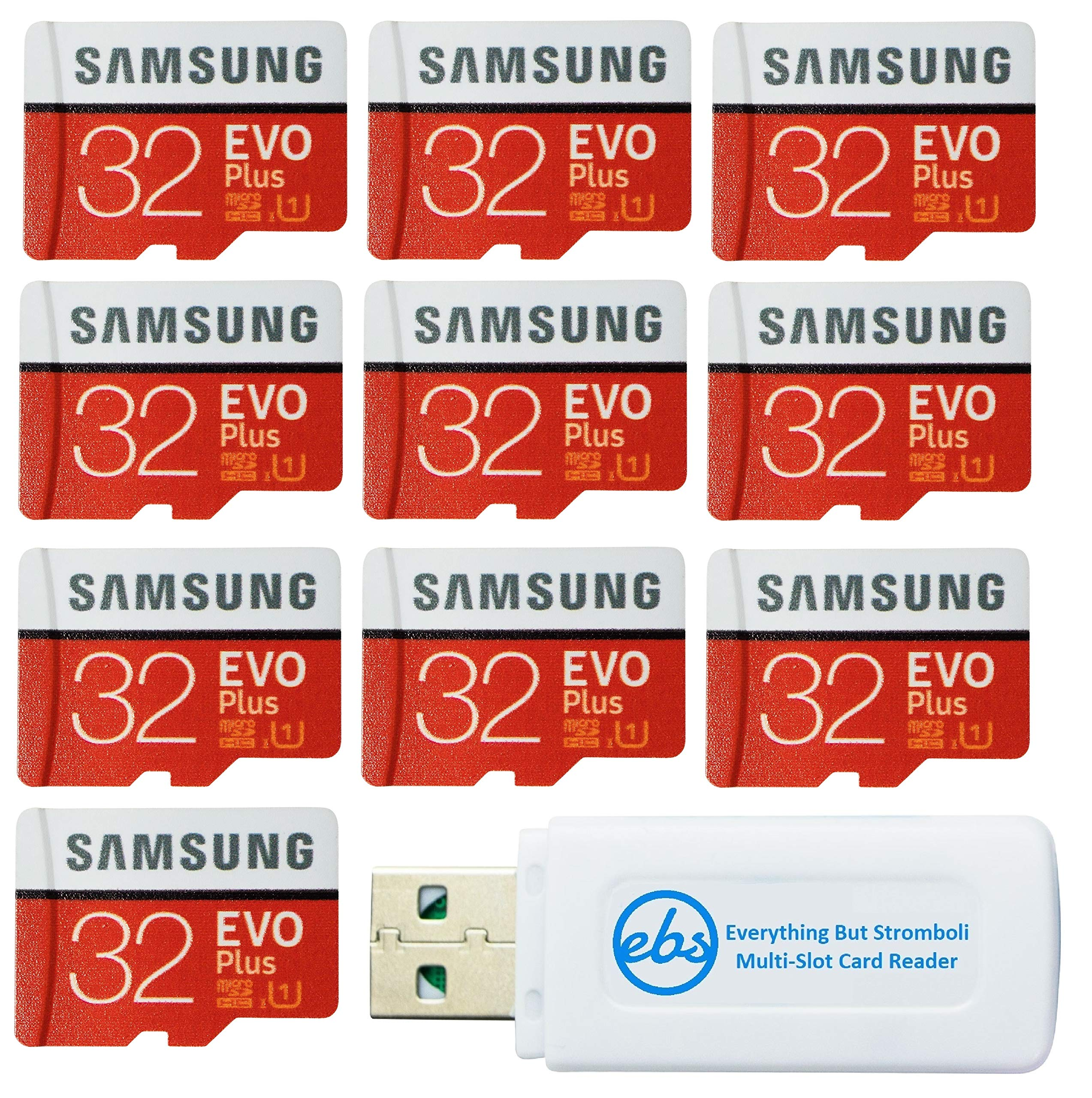 Samsung 32GB Evo Plus MicroSD Card (10 Pack EVO+ Bundle) Class 10 SDHC Memory Card with Adapter (MB-MC32G) with (1) Everything But Stromboli (TM) Micro & SD Card Reader by Samsung