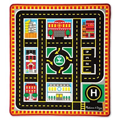 Melissa & Doug Round The City Rescue Rug With 4 Wooden Vehicles (39 x 36 inches): Toys & Games