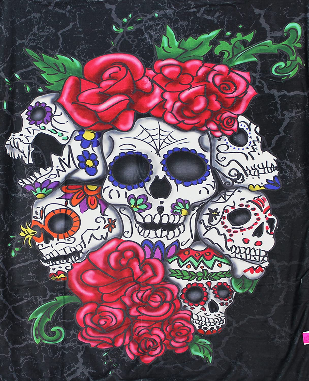 Skulls N Roses Silk Touch Throw with Sherpa Lining