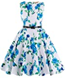 Kate Kasin Girls Sleeveless Printed Floral Casual Swing Dresses with Belt