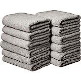 AmazonBasics Cotton Hand Towels, Gray - Pack of 12