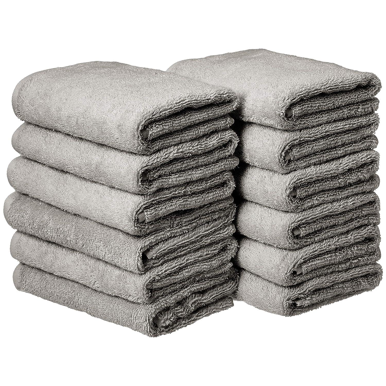 AmazonBasics Cotton Hand Towel - 12-Pack, Grey
