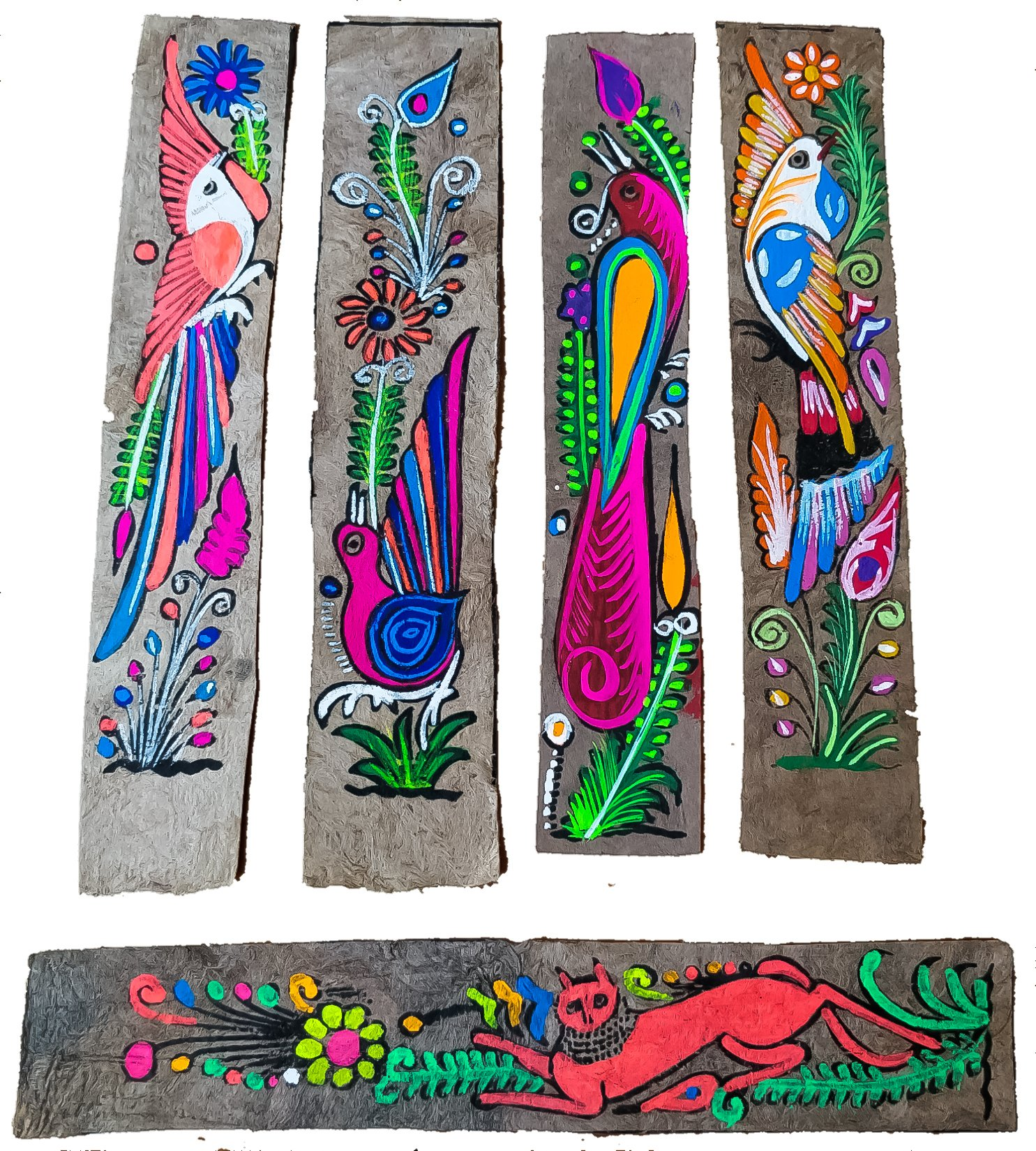 Unique Amate Bookmarks 5 pcs Hand Painted Mexican Art for School Home Office Library