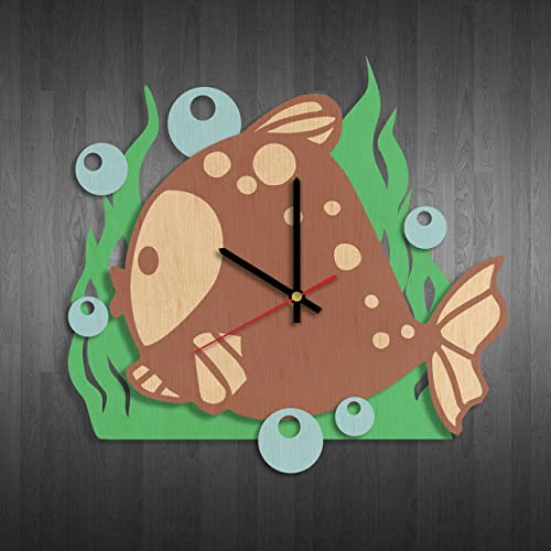 Cute fish design wood wall clock