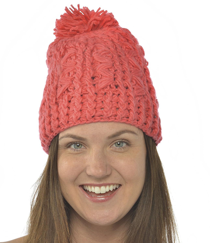 Leisureland 100 %ハンドメイドかぎ針編みビーニー帽子  レッド B00670YYWC