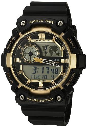 Casio Mens Super Illuminator Quartz Resin Casual Watch, Color:Black (Model: AEQ-200W-9AVCF)