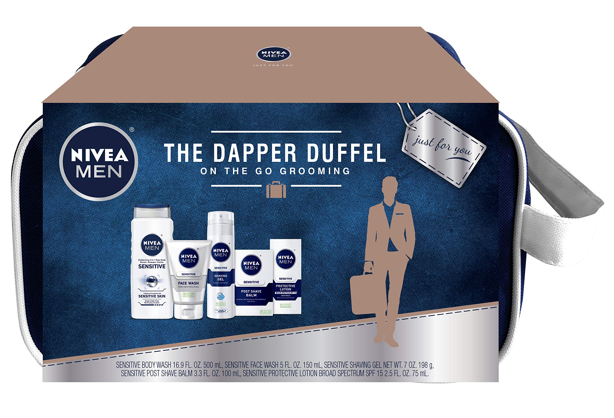 NIVEA Men Dapper Duffel Gift Set - 5 Piece Collection Of On-The-Go Grooming Needs with Travel Bag Included by Nivea Men