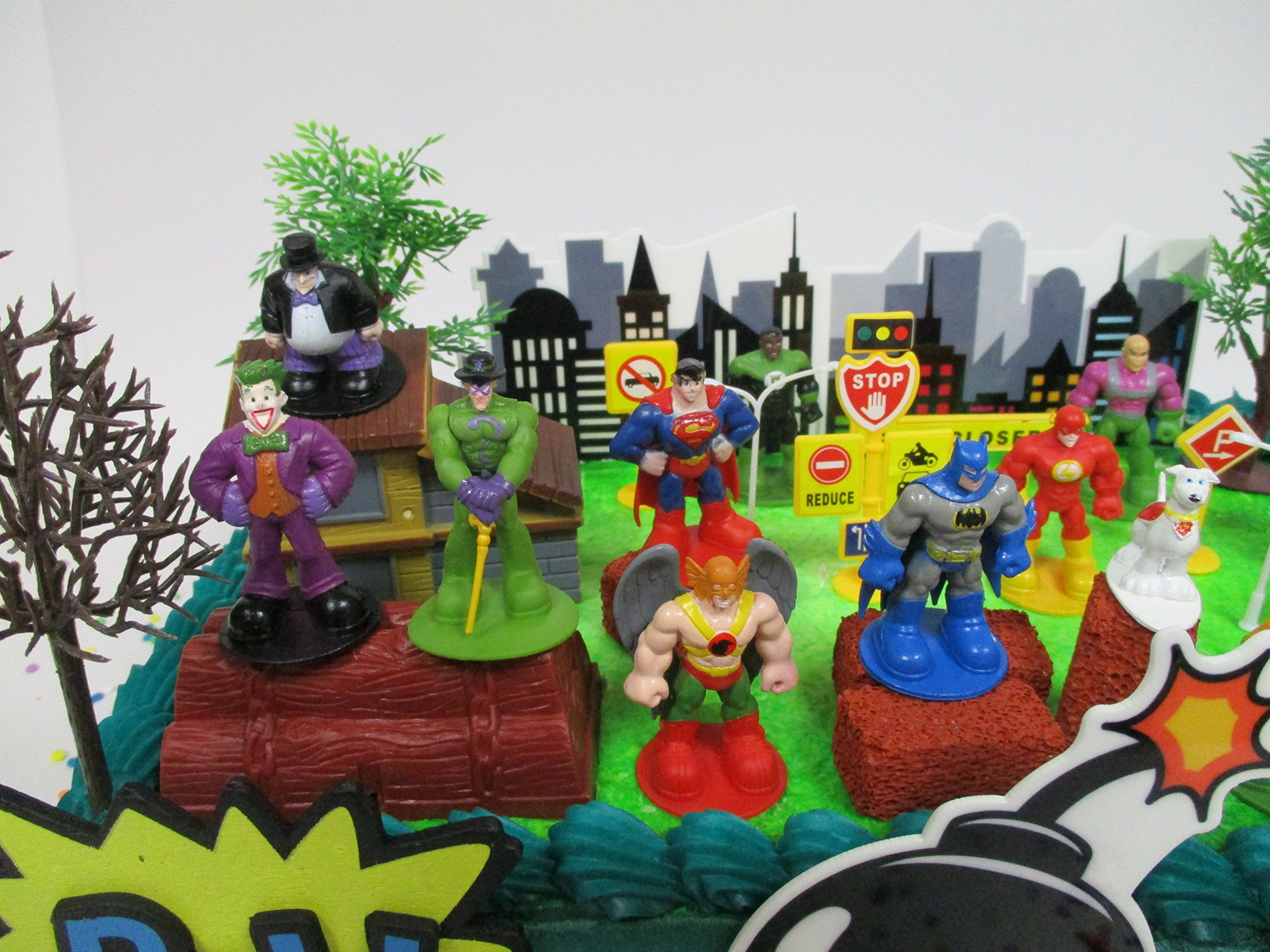DC Comic Super Friends Birthday Cake Topper Set Featuring Super Hero Crime Fighters and Villains with Decorative Accessories by Kitoo (Image #6)
