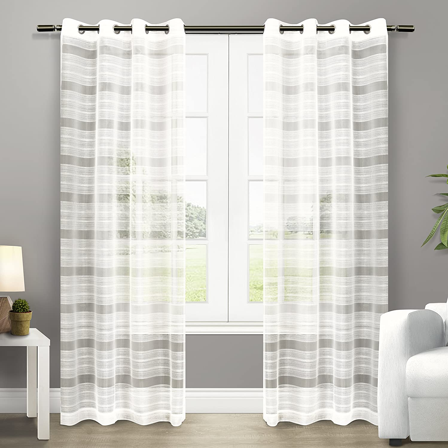 Amazon Exclusive Home Curtains Michel Sheer Grommet Top Window