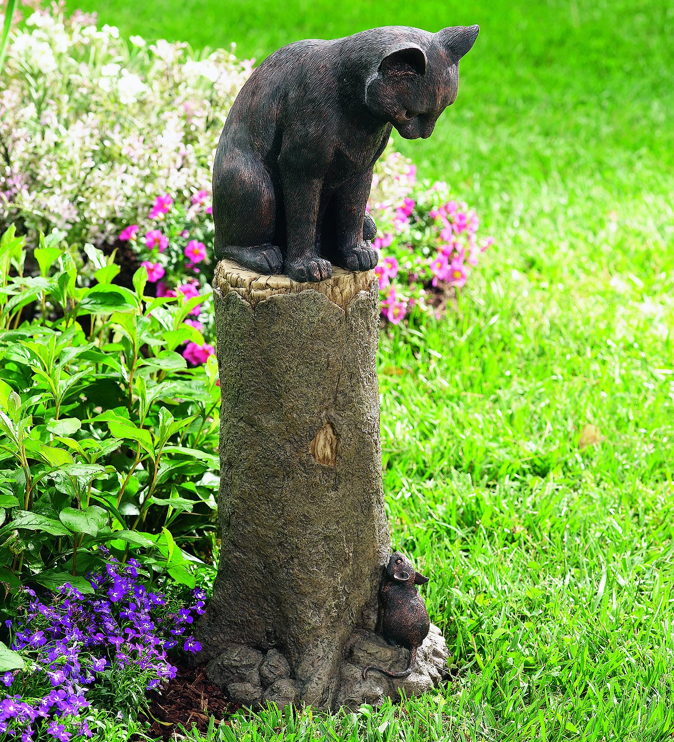 Amazon.com : Plow & Hearth Cat and Mouse Outdoor Garden Decor ...