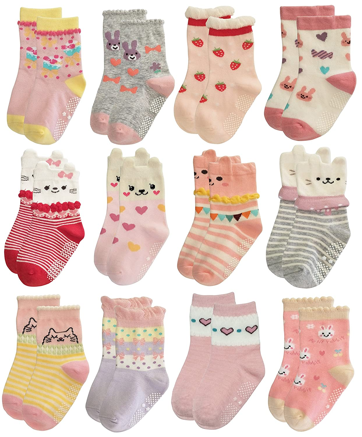 RATIVE RG-82021 Non Skid Cotton Crew Socks With Grips For Baby Toddler Girls