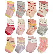RATIVE Non Skid Anti Slip Cotton Dress Crew Socks With Grips For Baby Infant Toddler Kids Girls (6-12 Months, 12-pairs/RG-820821)