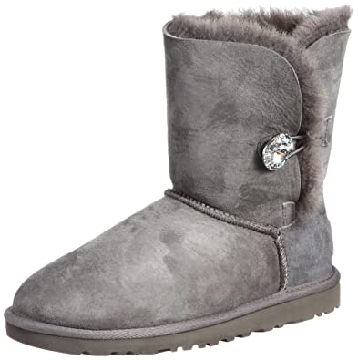 UGG Australia Womens Bailey Button Bling Boot Grey Size 5