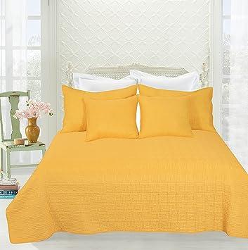 Tache 5 Piece Solid Festive Bright Yellow Brick Road Bedspread Quilt Set,  Queen