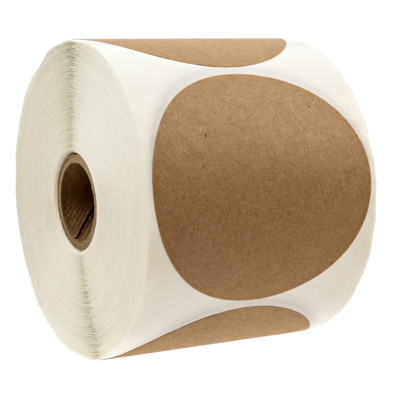 3'' Natural Brown Kraft Stickers/500 Labels per Roll/Permanent Adhesive