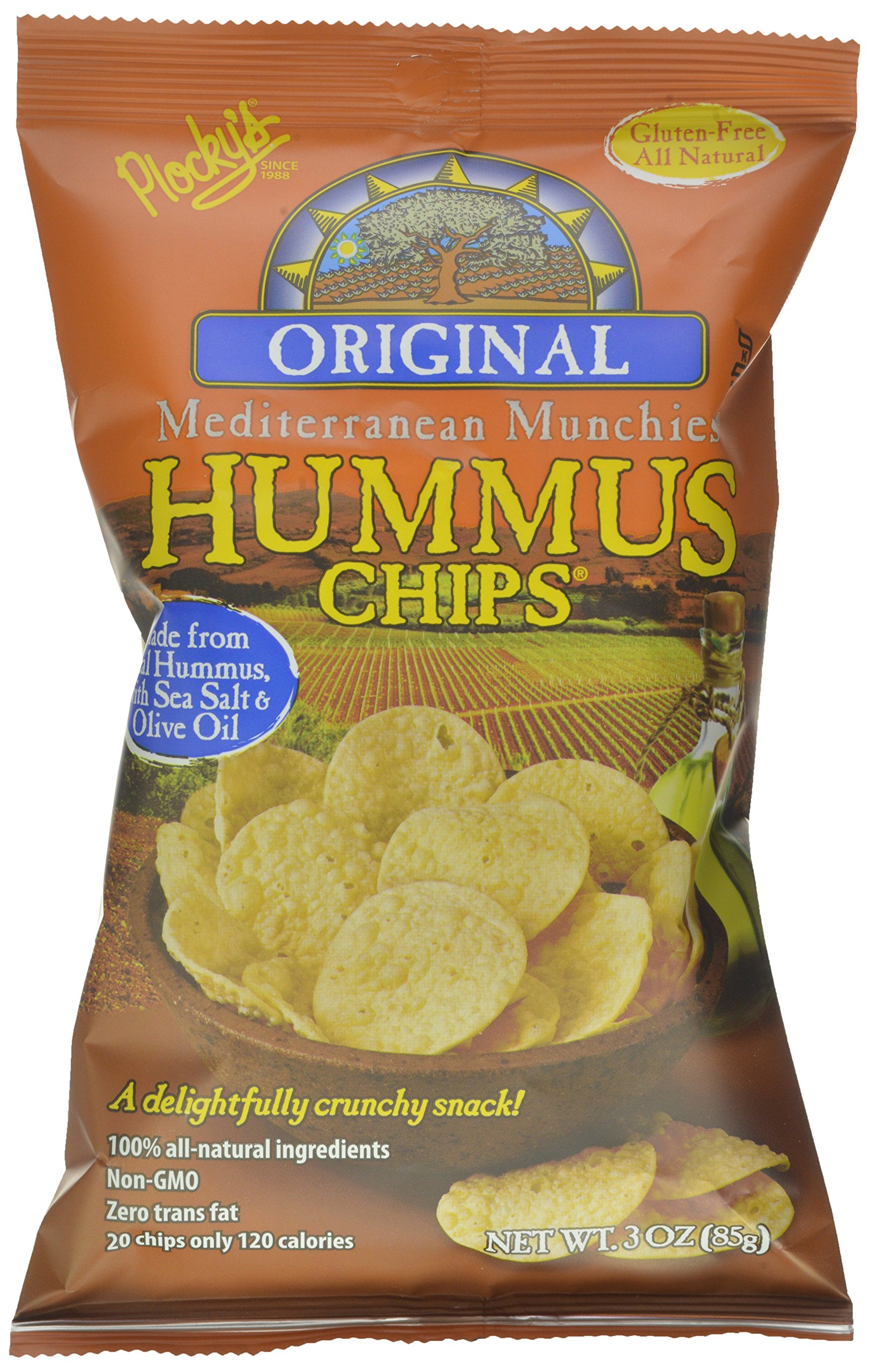 Plocky's Hummus Chips, Original, 3-Ounce Bags (Pack of 12)