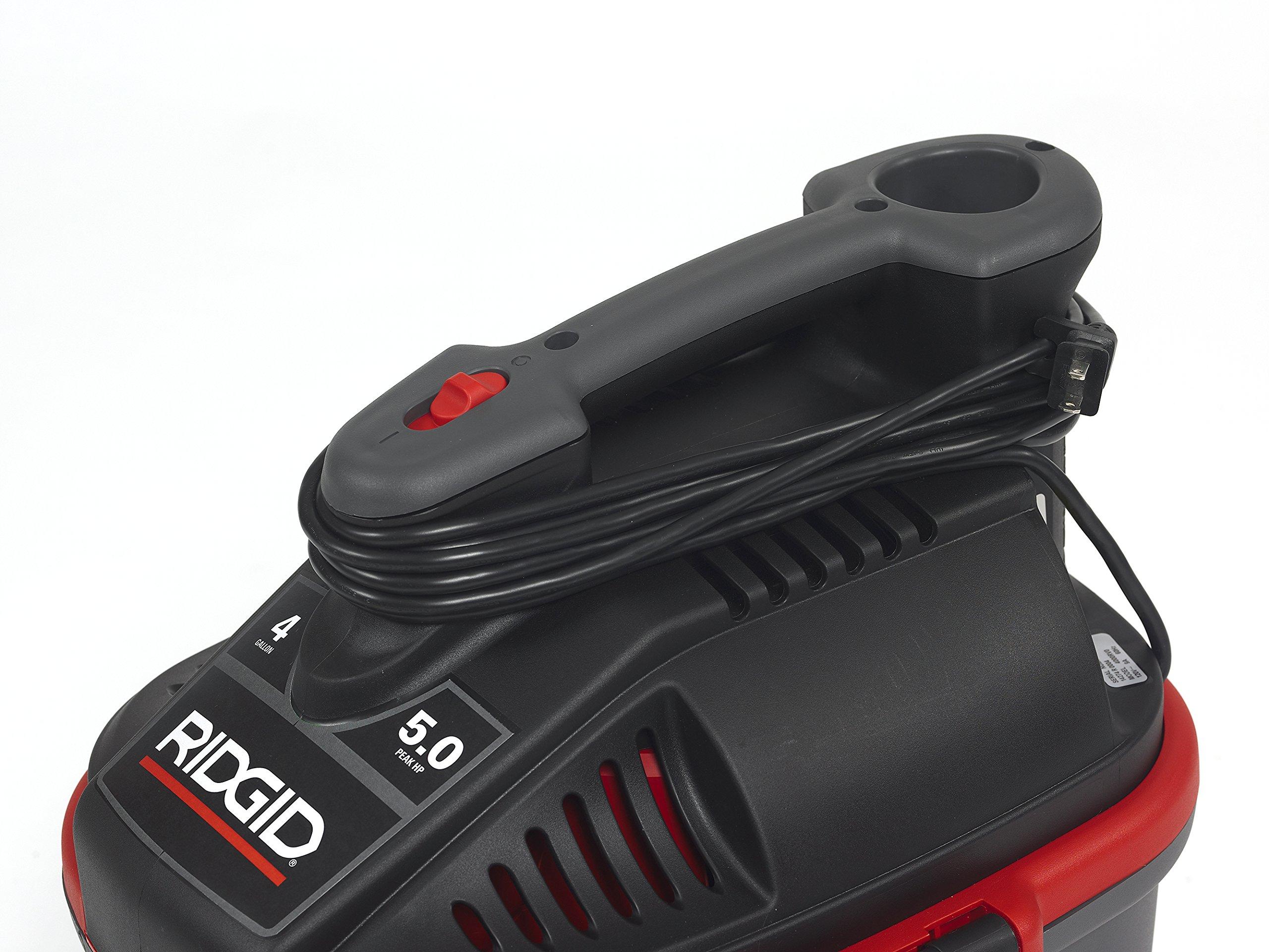 RIDGID 50313 4000RV Portable Wet Dry Vacuum, 4-Gallon Small Wet Dry Vac with 5.0 Peak HP Motor, Pro Hose, Ergonomic Handle, Cord Wrap, Blower Port by Ridgid (Image #7)