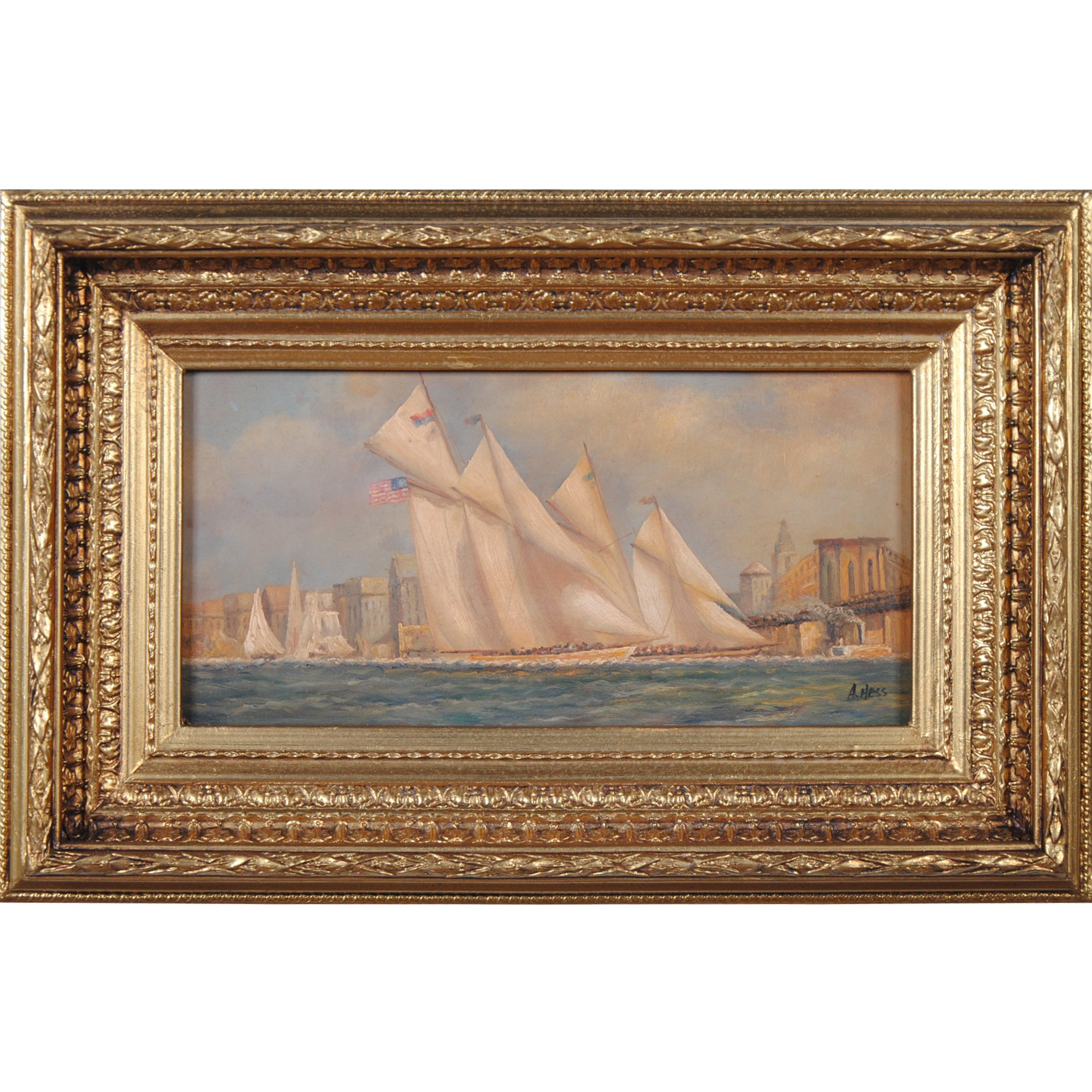 FTN030-SC006-2, Niagara Furniture, Ships Sailing by Bridge Scene