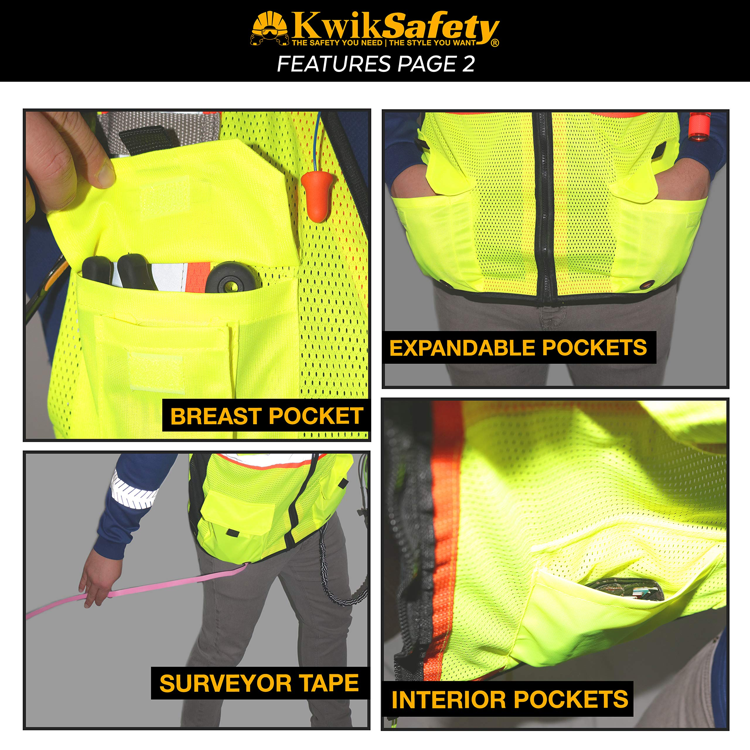 KwikSafety (Charlotte, NC) BIG KAHUNA (11 Pockets) Class 2 ANSI High Visibility Reflective Safety Vest Heavy Duty Mesh with Zipper and HiVis for OSHA Construction Work HiViz Men Yellow Black Small by KwikSafety (Image #5)