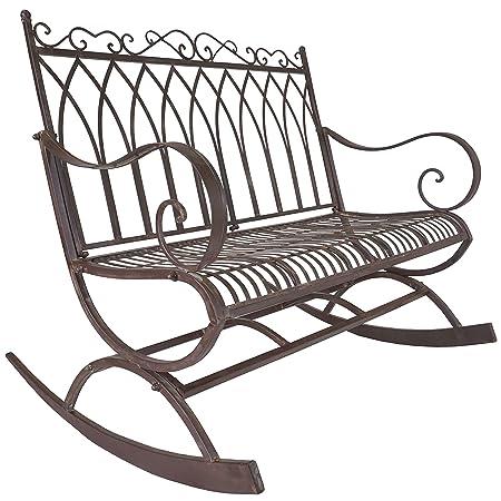 Titan Outdoor Metal Rocking Bench Chair Porch Patio Garden Deck Decor Rust Color
