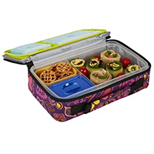 Fit & Fresh Bento Box Lunch Kit with Reusable BPA-Free Removable Plastic Containers, Zipper Insulated Lunch Bag and Ice Packs, Kids, Men, Ladies (Woodstock)