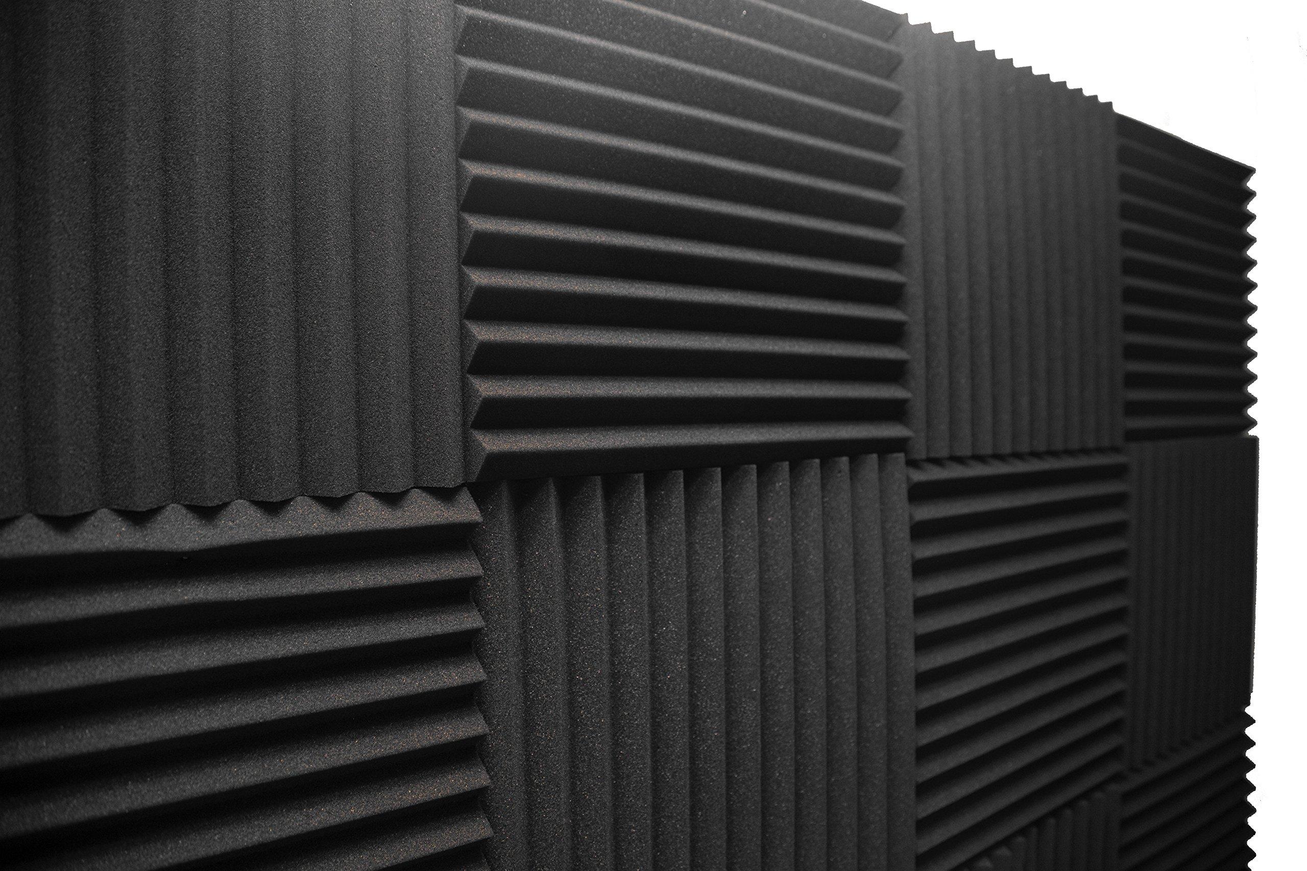 Acoustic Foam Panels; Studio Wedge Tiles; 12 Pack; 1'' X 12'' X 12'' by Emerson Studio Acoustics