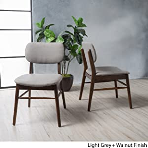 Christopher Knight Home 300015 Colette Light Grey Fabric with Walnut Finish Dining Chairs