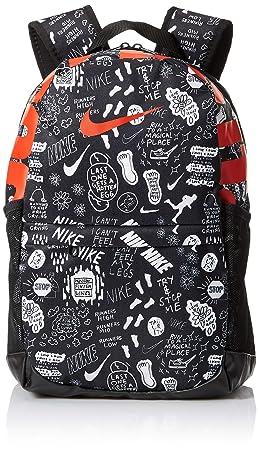 18247b023d6cf NIKE Youth Brasilia Backpack - All Over Print, Black/Black/Habenero ...