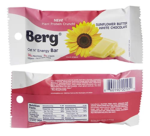 Berg Oat N Energy Bar Variety Contains 2 of Each Flavor , 2.5oz Pack of 8