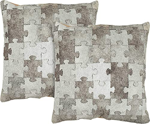Safavieh Pillow Collection Throw Pillows, 22 by 22-Inch, Mason Multicolored and Grey, Set of 2