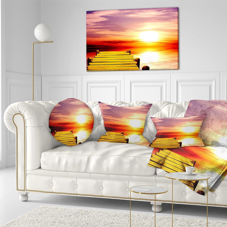 Designart CU8354-20-20-C Burning Sunset in Blue Sky Seascape Round Cushion Cover for Living Room Sofa Throw Pillow 20