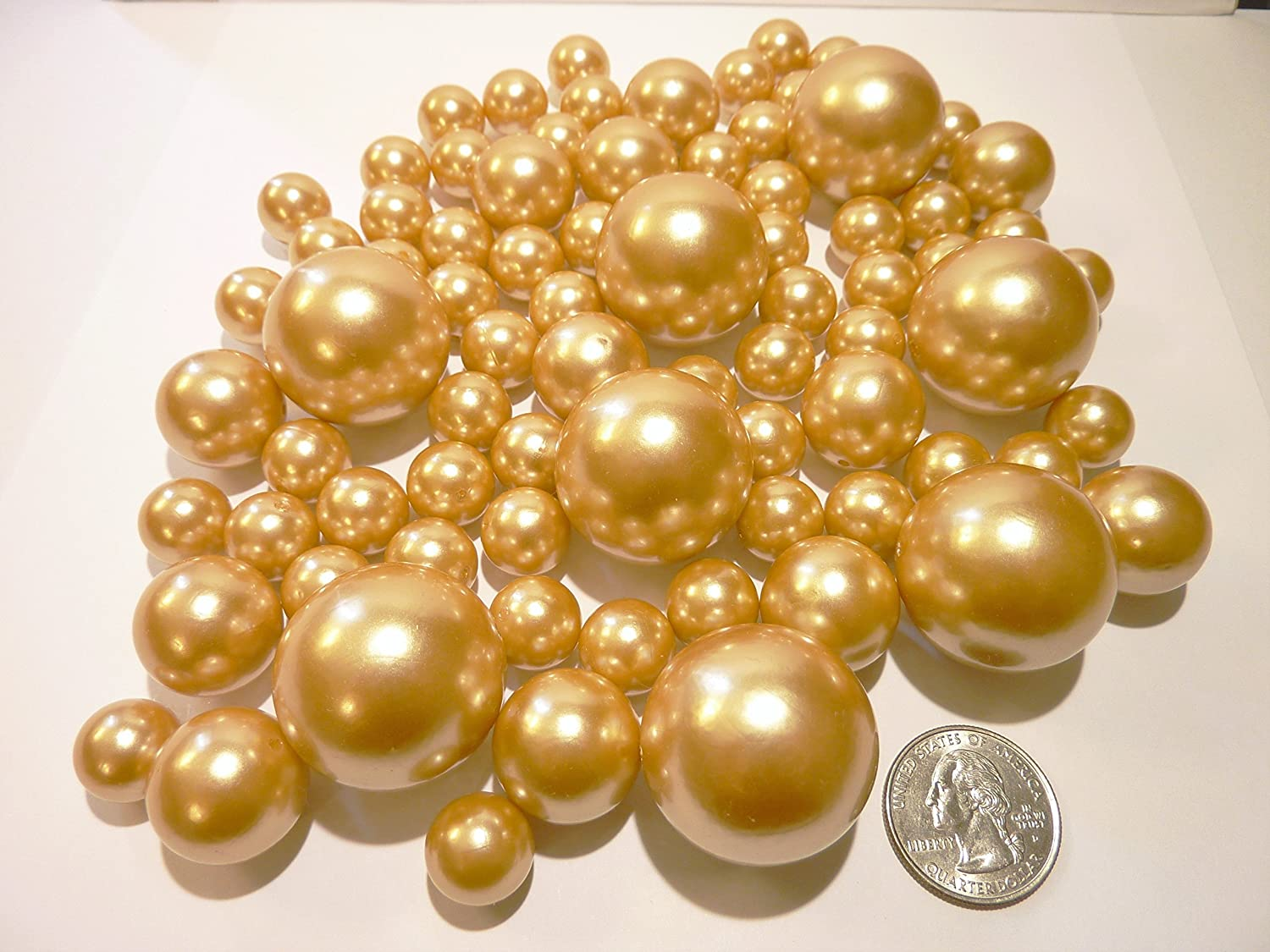 2 packs discount jumbo u0026 assorted sizes all gold pearls vase fillers value pack for to float the pearls order the transparent water gels