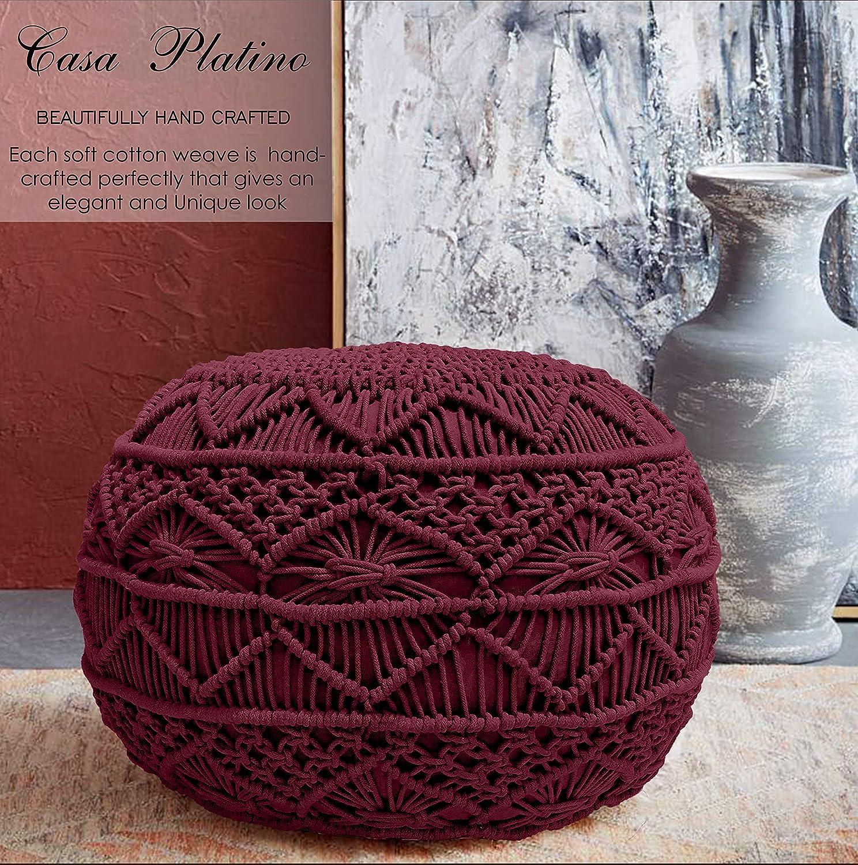 Vino 20 Diametro x 14 Altezza Casa Platino Pouf Ottoman lavorate a Mano del Cavo di Stile Dori Pouf-macram Pouf-Floor ottomana-100/% Cotone della Treccia Cord-Mano