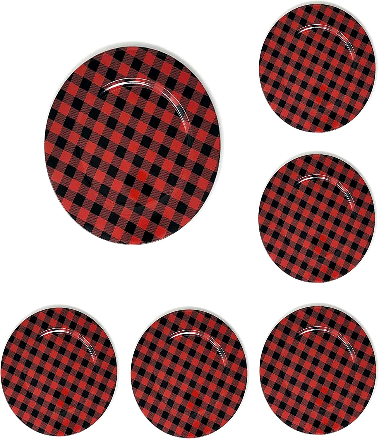 The Nifty Nook Round 13 Inch Plastic Charger Plates Farmhouse Decor Plaid - Set of 6 (Red & Black Plaid)