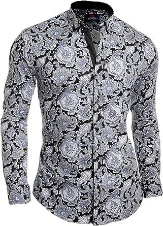 Camisa de Hombre Casual Cachemir Manga Larga Algodón Slim Fit Premium