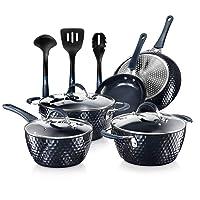 Nutrichef Nonstick Cookware Excilon Home Kitchen Ware Pots & Pan Set with Saucepan Frying Pans, Cooking Pots, Lids, Utensil PTFE/PFOA/PFOS free, 11 Pcs, Blue Diamond
