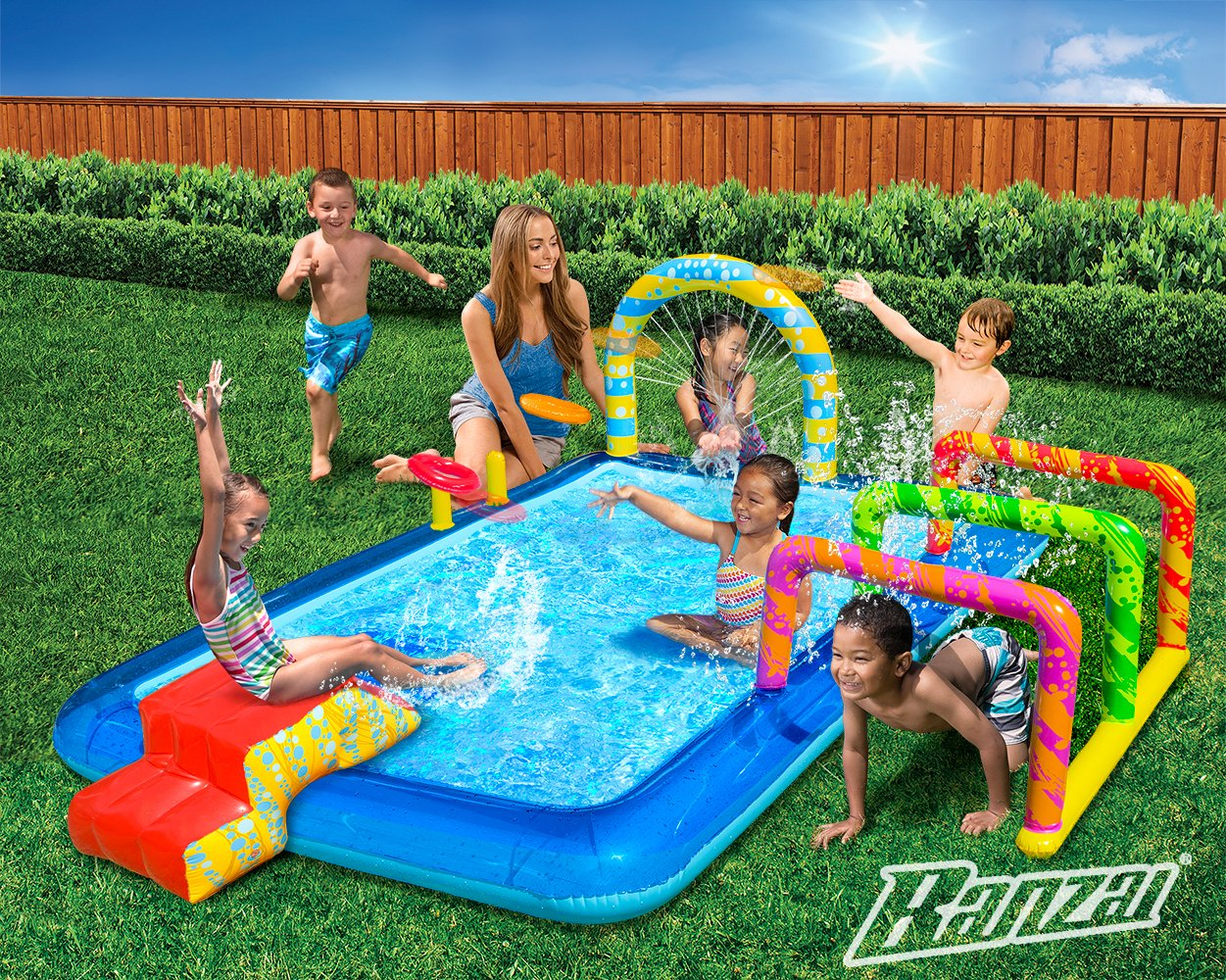 Activity pool inflatable water slide spray swimming kids - Swimming pool activities for kids ...