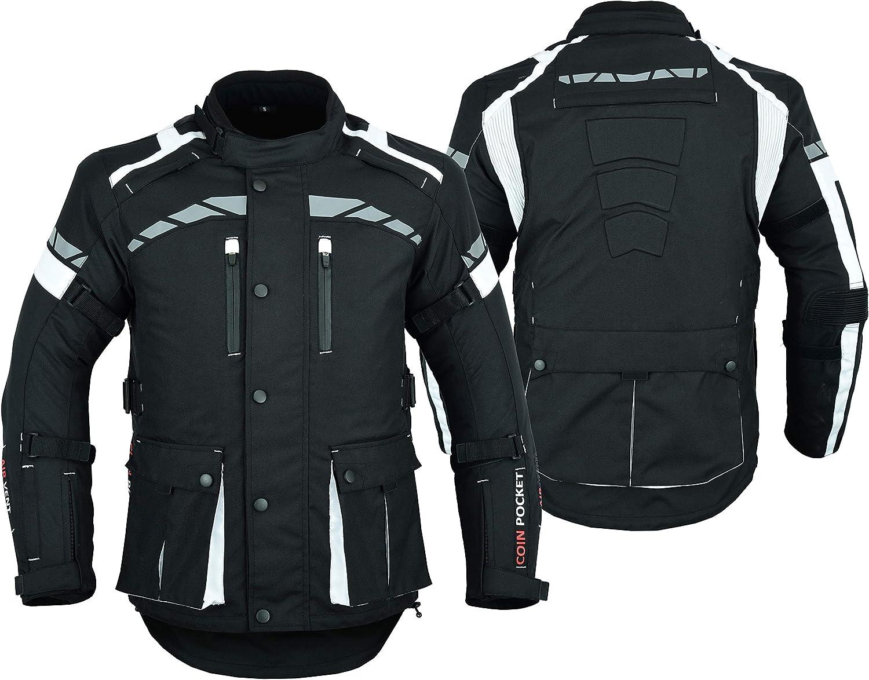 Cordura CJ-9496 - Chaqueta impermeable para motociclista, color blanco y negro