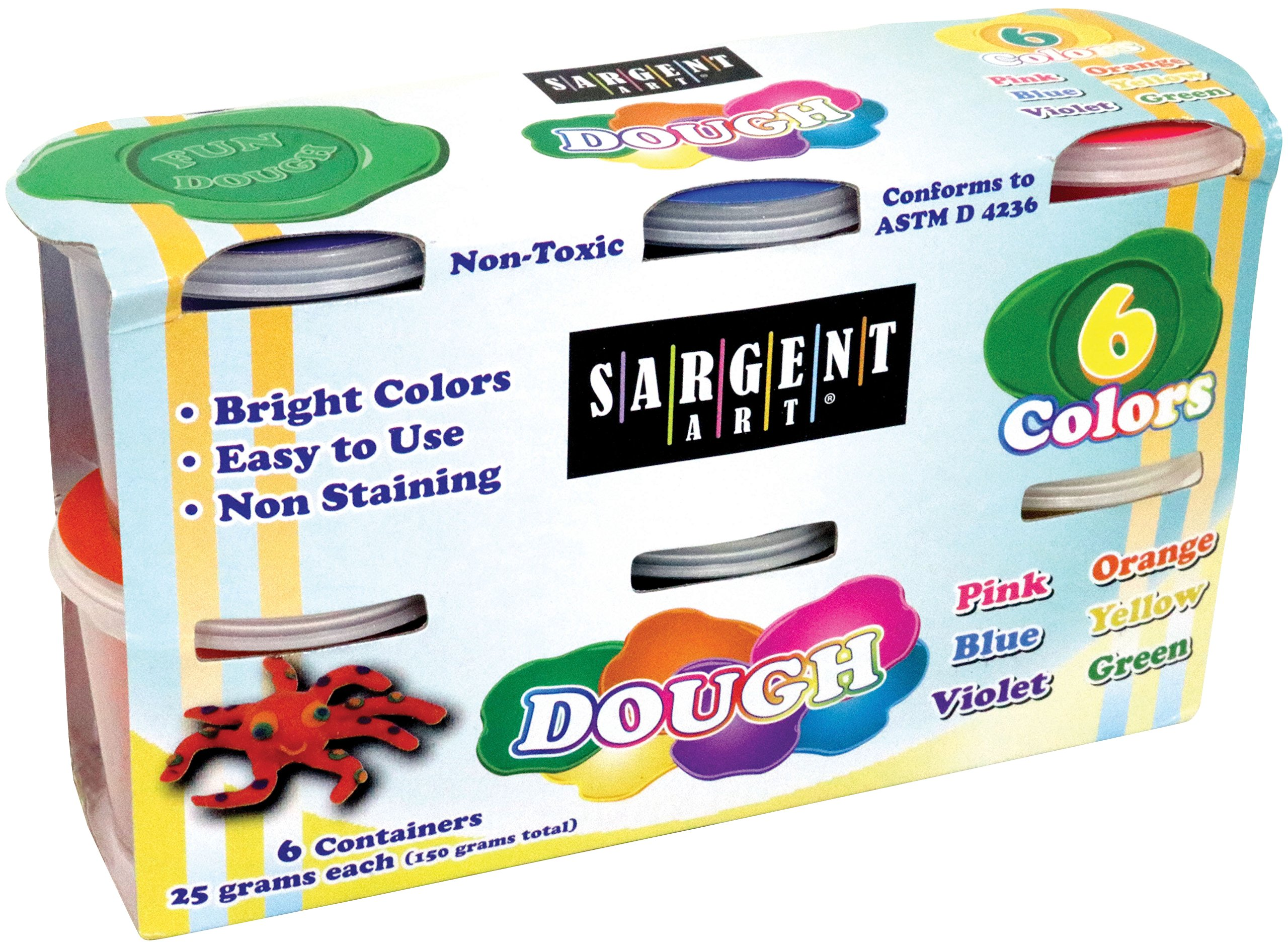 Sargent Art 85-3401, Dough Set 25g 6 Different Bright Colors Included