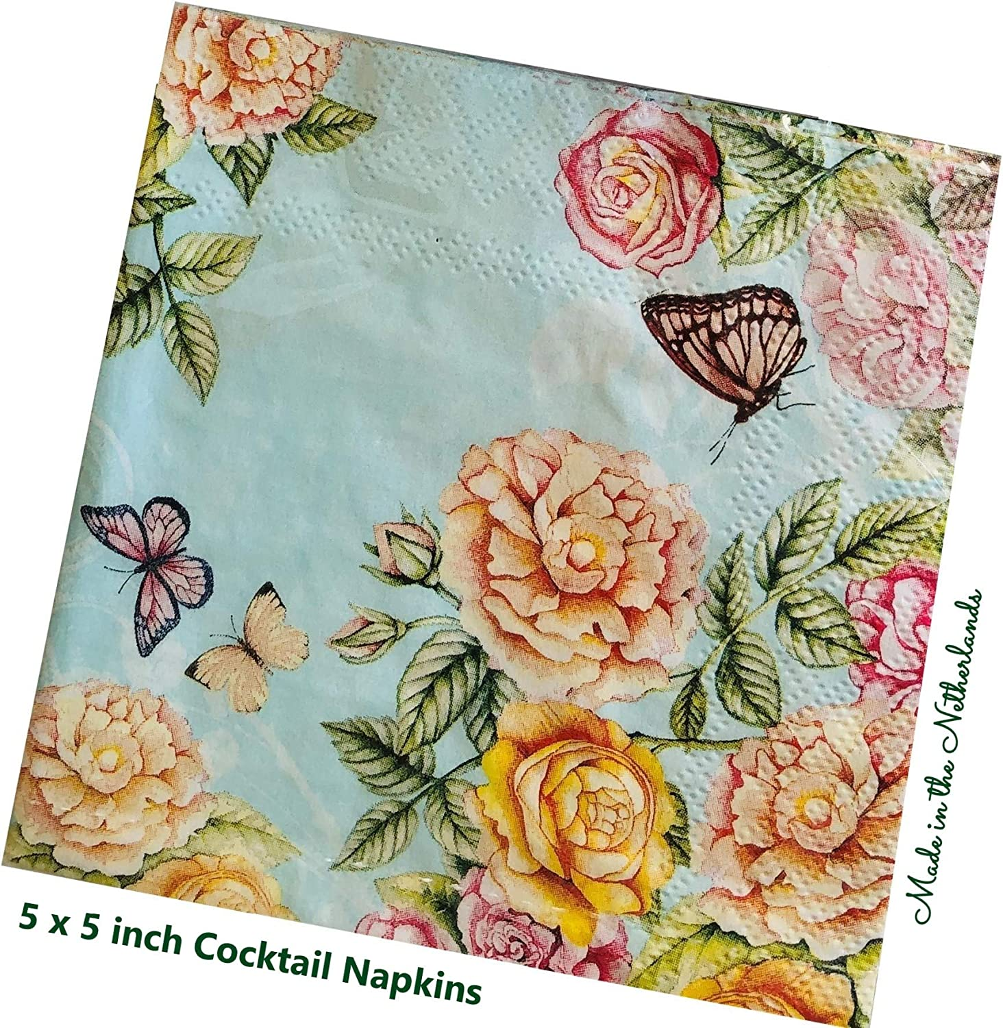PN074 ~ Four Paper Napkins by Cypress Home ~ 5x5 ~ Beautiful Green /& Blue Bird with pretty green flowers