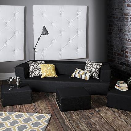 Jaxx Zipline Denim Convertible Sleeper Sofa U0026 Ottomans, Black
