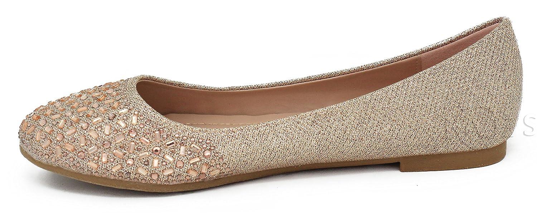 MVE Shoes Women's Crystal Glitter Rhinestone Slip On- Formal Glitter Crystal Flats B07B1FMDQV 7 B(M) US|Champane*j 6ac58c