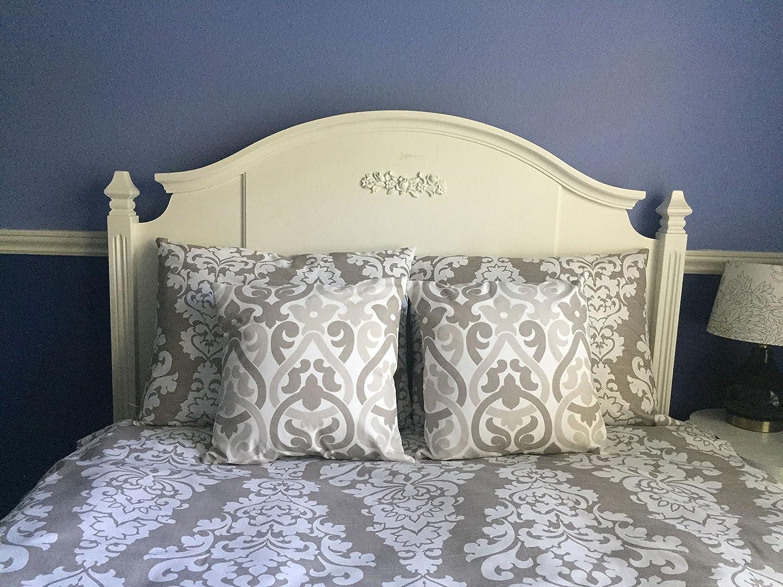 Image of Complete Bedding Set in Ecru Damask - Reversible