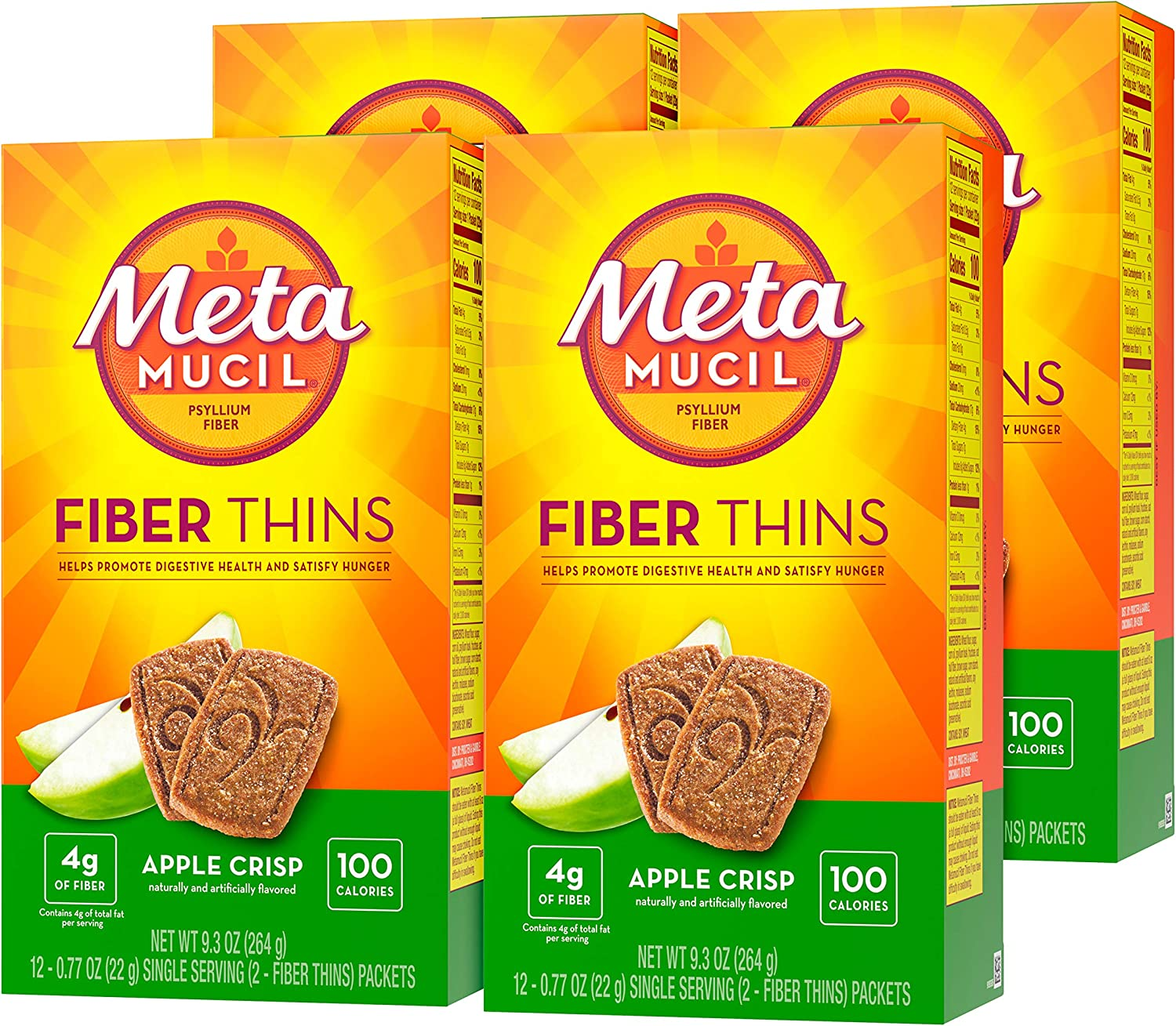 Metamucil Fiber Thins, Apple Crisp, 4 Boxes of 12 Servings, Dietary Fiber Supplement Snack with Psyllium Husk