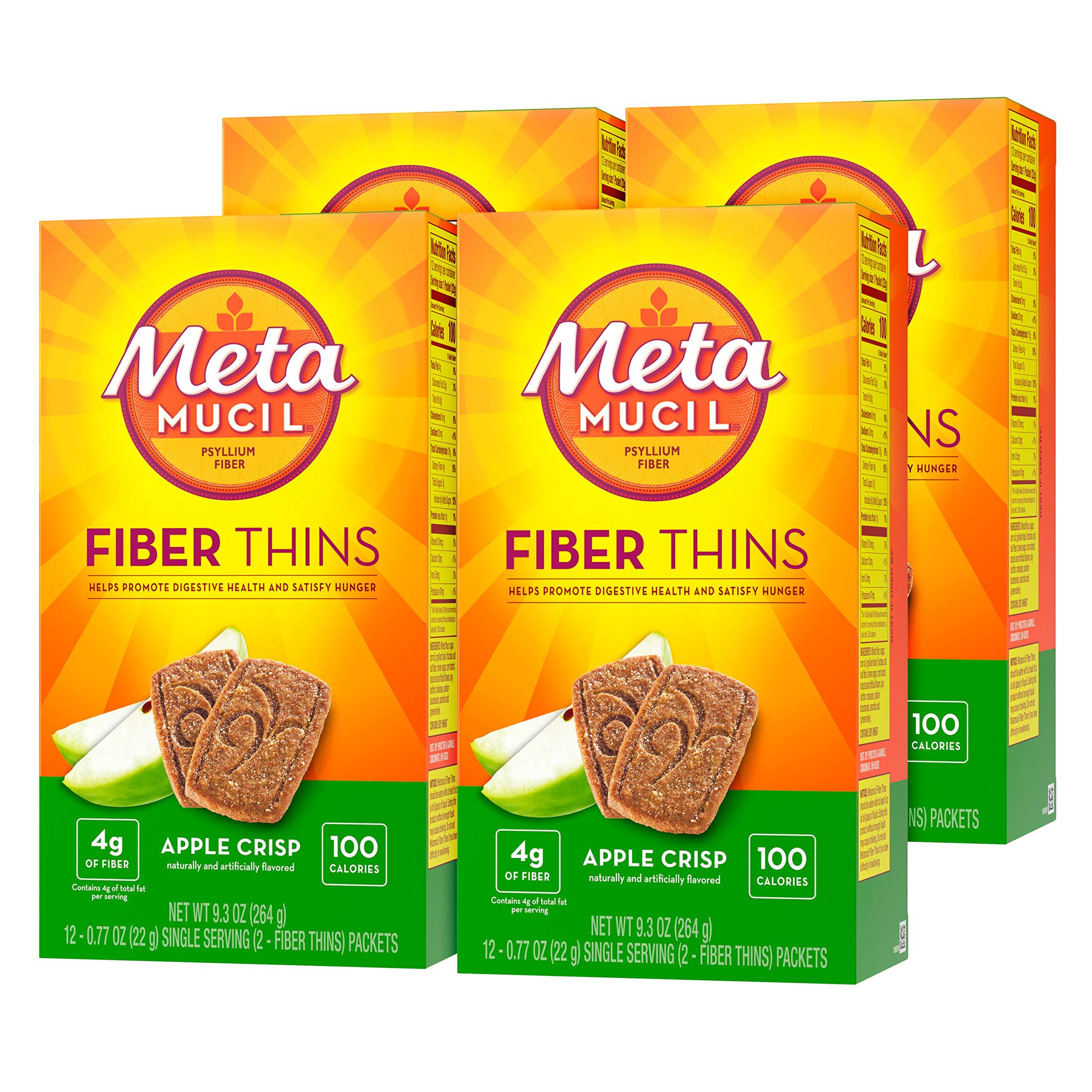 Metamucil Apple Crisp Flavored Fiber Thins Dietary Fiber Supplement with Psyllium Husk, 12 servings (pack of 4)