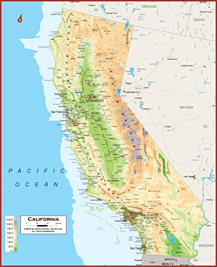 Amazon.com : 49 X 60 - Giant California State Wall Map Poster with ...